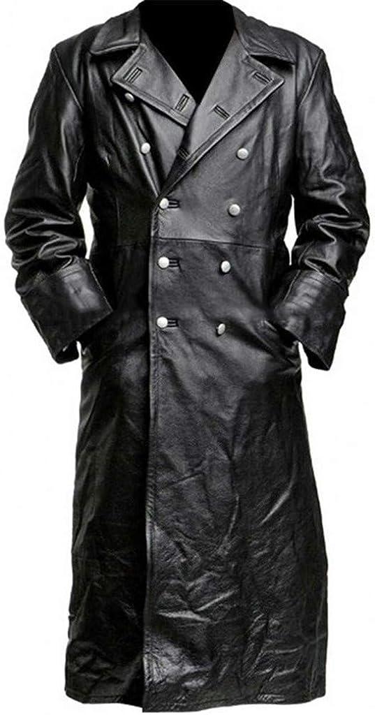 VECDY Maxi Blazers para Hombre, Chaquetas Cruzadas hasta la Rodilla Chaquetas Negras Punk de Cuero de imitación Abrigos de Caballero Detectives M-5XL