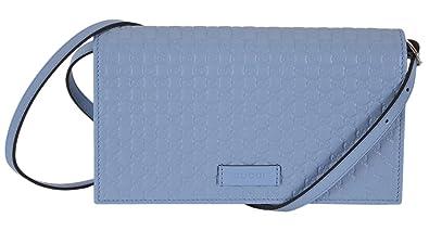 b0c7a52b7af Amazon.com: Gucci Women's Light Blue Leather Crossbody Micro GG ...