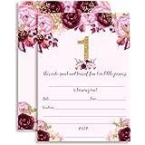 Amazon princess birthday invitations girl first birthday watercolor floral princess with snowflakes 1st birthday party invitations for girls ten 5x7 filmwisefo