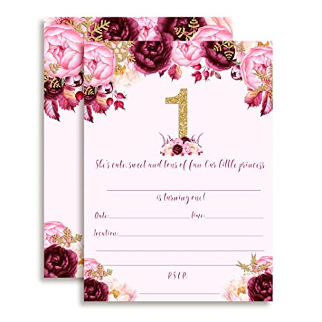 Watercolor Floral Princess with Snowflakes 1st Birthday Party Invitations for Girls, 20 5x7&quot