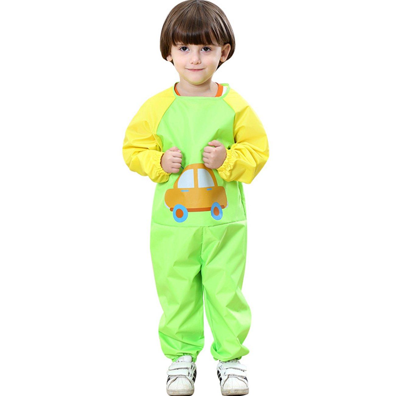 Boys/Girls Kids Waterproof Raincoat All in One Suit Kids Conjoined Raincoat,Green,M/Height:95-105cm/fit 3-5T