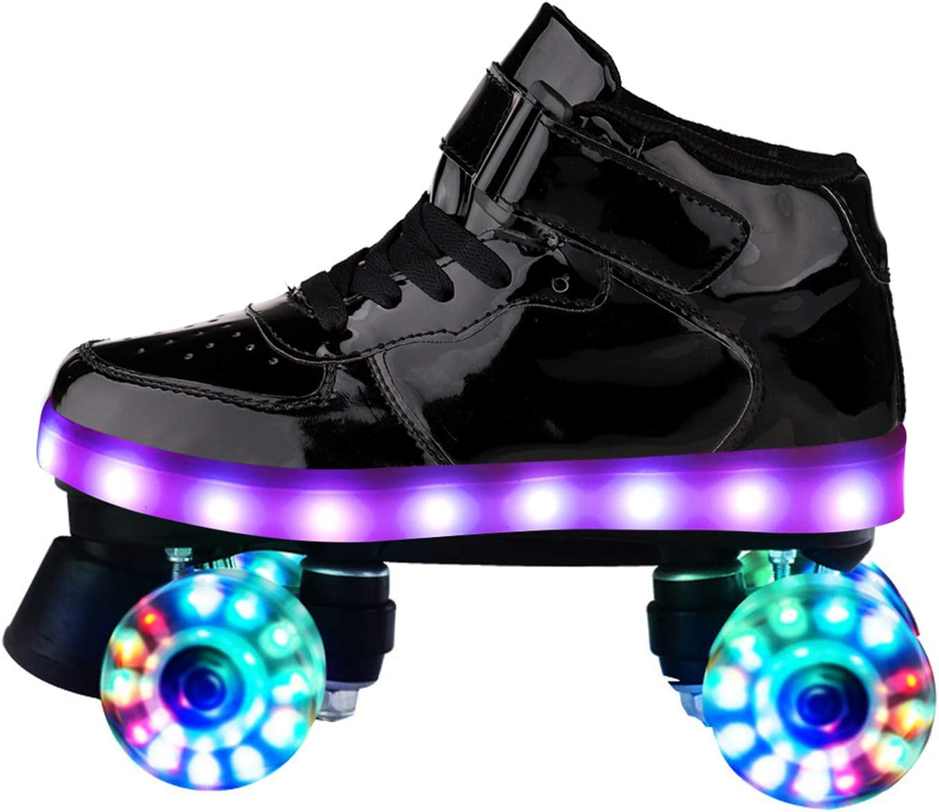 Cool Flash PU Wheel Double Row 4-Wheel Roller Skates Street Skateboarding Leather Boot Quad Roller Skates for Kids and Adult Woman with LED Lights