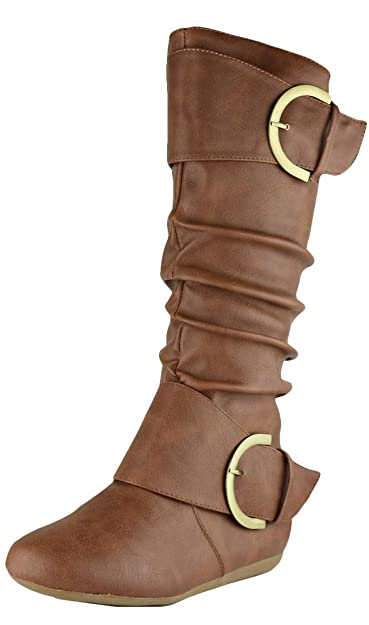 Pull-On Slouchy Mid-Calf Round Toe Buckle Boot