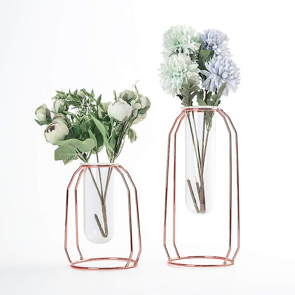 DEDC Set of 2 Flower Glass Vase with Metal Stander Rose Gold Decorative Plant Terrarium for Hydroponics Plants Home Garden Wedding Decor (Rose Gold)