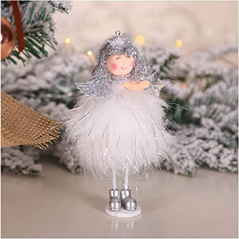 LLguz Christmas Decoration,Plush Angel Doll Xmas Trees Ornaments Decorative Craft Accessories Supplies for Kids Holiday Party Door Wall Fireplace Decor Gift 20x9CM D