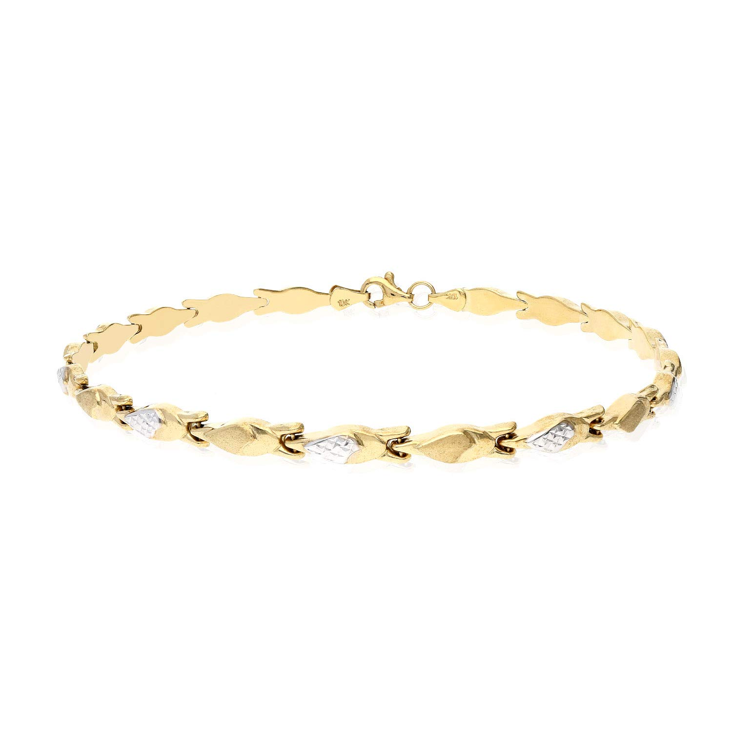 10K Two-Tone Yellow White Gold 4.5mm Hollow Fancy Stampato Link Ankle Bracelet