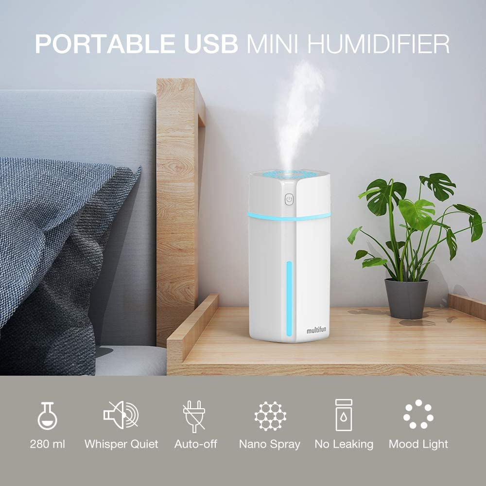 multifun Mini USB Humidifier, Portable Humidifier with Multi-Colour LED Lights, Small Humidifier for Desk Travel Office Car Bedroom, Quiet Operation and Auto Timer Shut-Off, 180ml Personal Humidifier