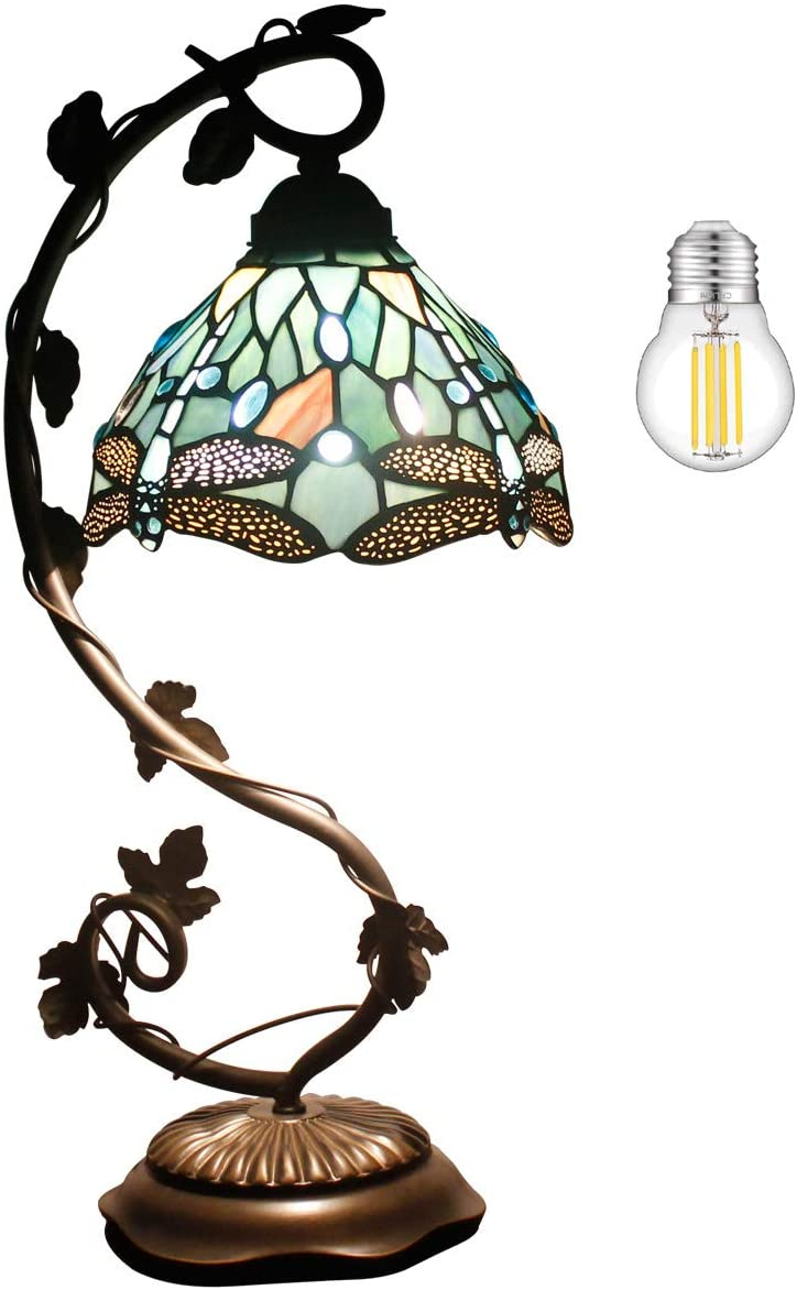 Tiffany Lamps Stained Glass Table Desk Reading Lamp Crystal Bead Sea Blue Dragonfly Style Shade W8H22 Inch 1Pcs 4W LED G45 Bulb Included for Living Room Bedroom Bookcase Coffee Table S147 WERFACTORY