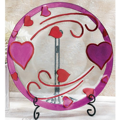 Home Essentials Decorative Round Heart Plate ON Stand