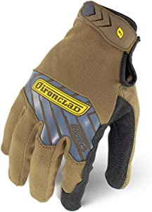 IRONCLAD Command Pro Work Gloves; Touch Screen Gloves Conductive Palm and Fingers, All-Purpose, Performance Fit, Machine Washable, Sized S, M, L, XL, XXL (1 Pair) (X-Large, Brown)