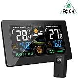 MOHOO Estación Meteorológica Inalámbrica Interiores y Exteriores con Sensor 9 en 1 Monitor de Temperatura y Humedad Reloj Digital con Pantalla de Sensor LCD para Hogar y Oficina,Hora lugal.