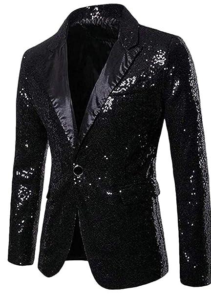 Amazon.com: ZLQQ - Abrigo de lentejuelas para hombre: Clothing