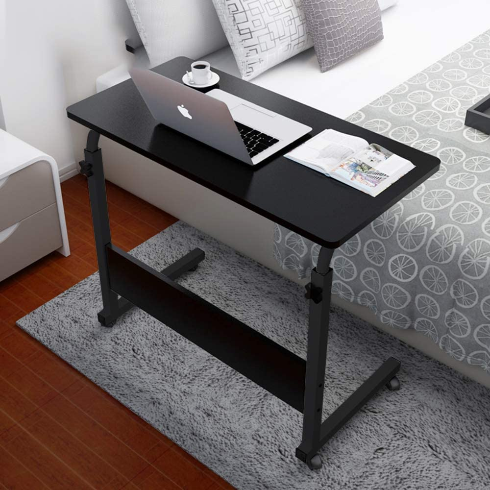 SSLine Rolling Sofa Side Snack Table Portable Laptop Computer Desk Stand with Wheels Wood Desktop with Metal Frame Height Adjustable Breakfast TV Tray Bedside Coffee Table 31.5 Lx15.7 W