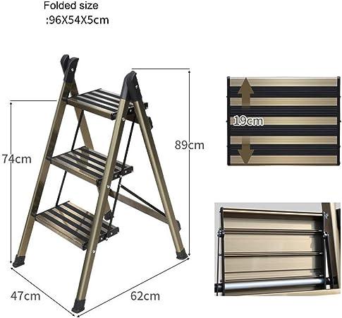 Guoyajf Escalera De Aluminio Ligera De 3 Peldaños Elegante Escalera De Diseño De Conexión Invisible con Escalera Antideslizante Robusta Y Ancha para Fotografía, Hogar Y Pintura,3Step: Amazon.es: Hogar