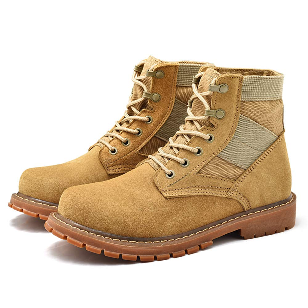 YAJIE-Stiefel, Herren Stiefeletten OX Leder Large Größe Wildleder High High High Top Casual Persönlichkeit Arbeitsschuhe (Farbe   Gelb, Größe   41 EU) c76c63