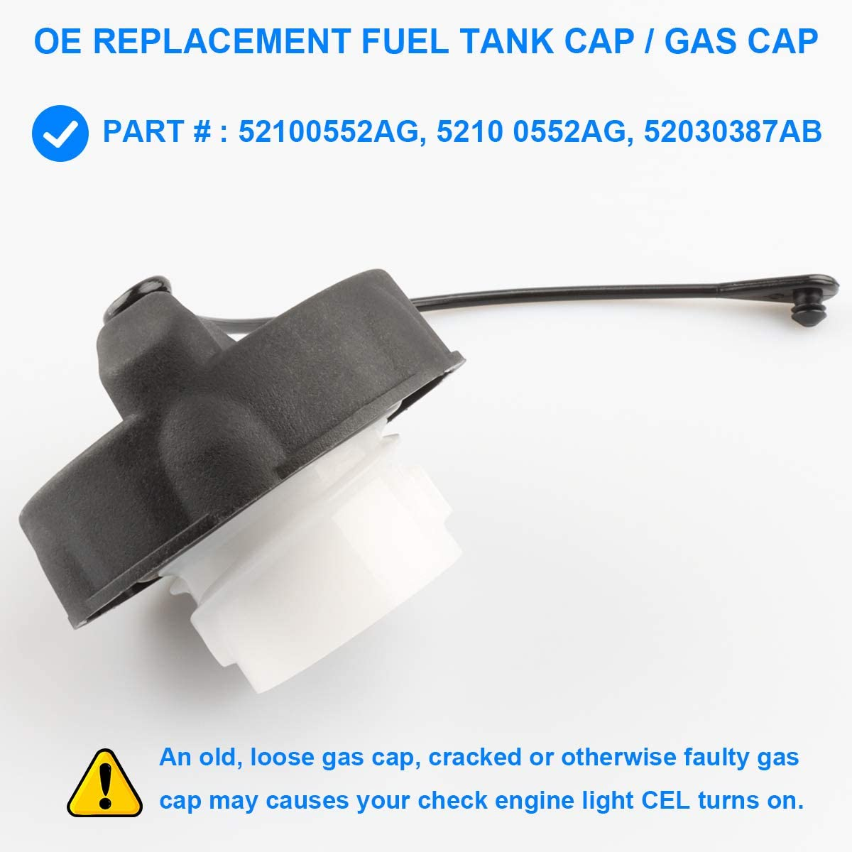 Allmotorparts Gas Cap Fuel Tank Cap Non-Locking Replace 52100552AG 52030387AB 52030387AA