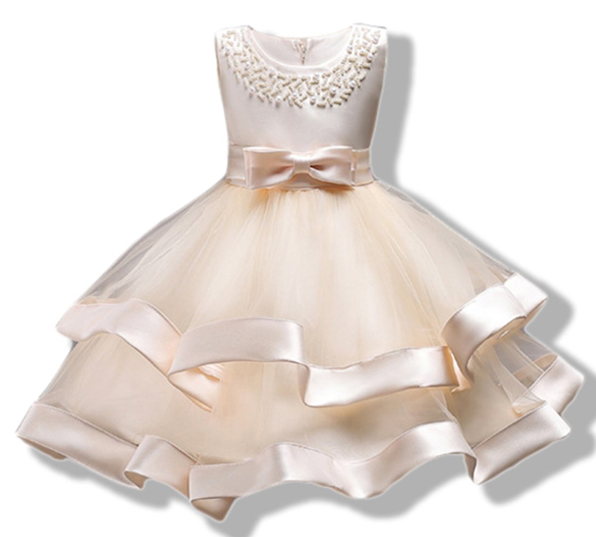 AYOMIS Girls Lace Bridesmaid Dress Wedding Pageant Dresses Tulle Party Gown Age 3-9Y(Champagne,4-5Y)