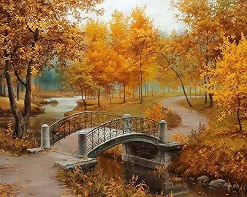 Crows Soul 5D DIY diamond paintings diamond cross embroidered diamond Autumn leaves Bridges water maple leaves 30x40CM