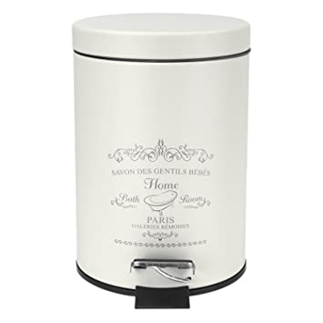 Home Basics Paris Collection Bathroom Accessories, Office, Bedroom,  Decorative Waste Basket With Stylish