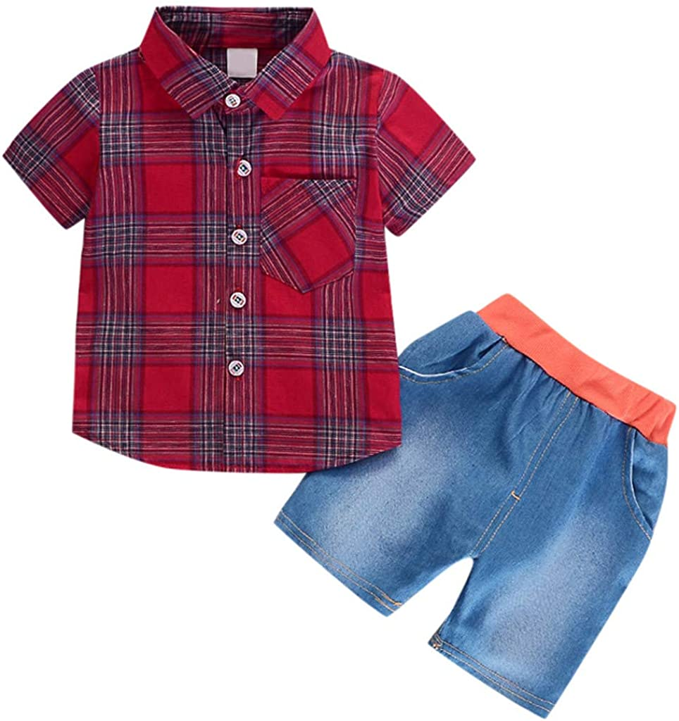 KONFA Short Sleeve Plaid Shirt with Pocket+Denim Shorts 2Pcs Outfits for Toddler Kids Infant Baby Boys Clothes Summer