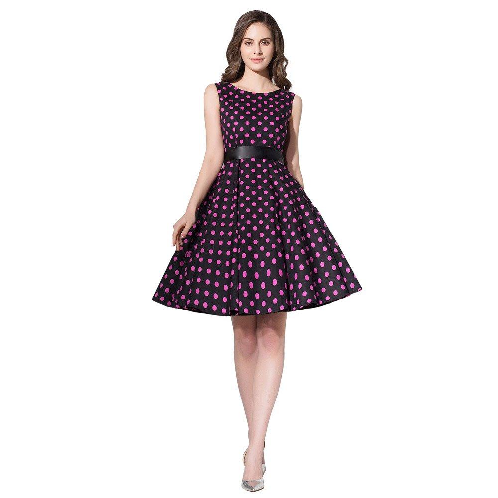 3ee5c9242703d FiftiesChic Sleeveless 100% Cotton Polka Dot Floral 50s Vintage Rockabilly Swing  Dress at Amazon Women's Clothing store: