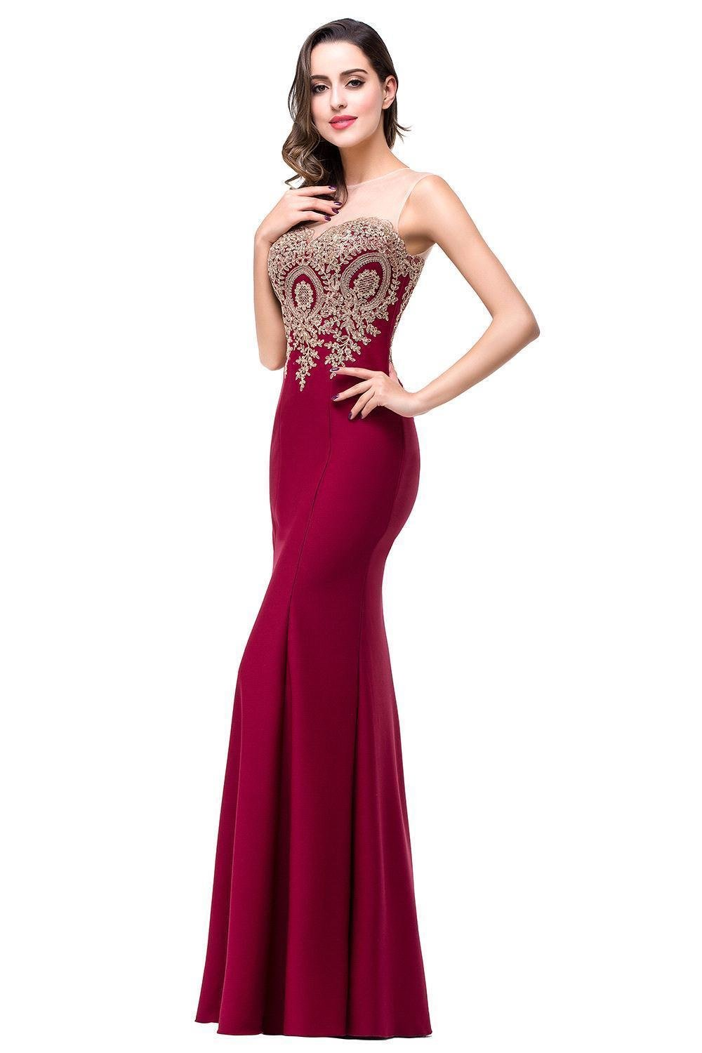 Babyonlinedress Women's Mermaid Gold Lace Embroidery Prom Dress Evening Gown,Burgundy,US 6