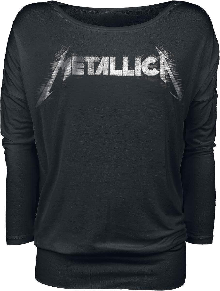 Regular Metallica Spiked Logo Donna Maglia a Maniche Lunghe Nero