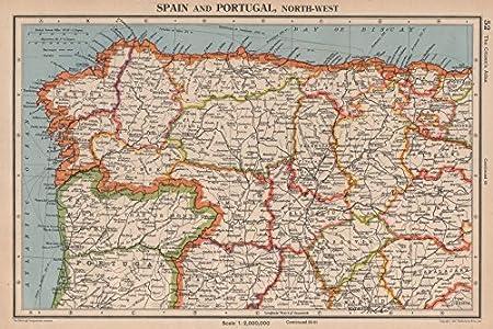 Iberia N West. España Portugal. Galicia Asturias Castilla/Leon Cantabria – 1944 – Antiguo Mapa Vintage – Mapas Impresos de Iberia: Amazon.es: Hogar