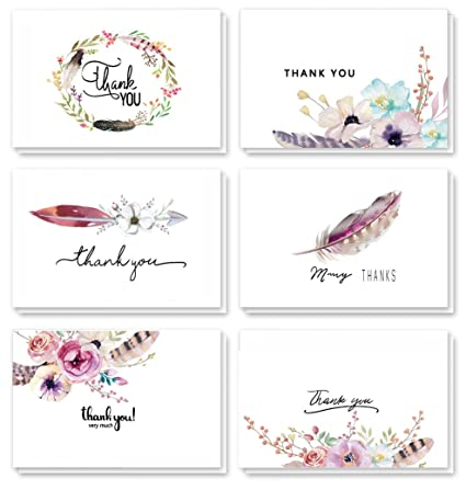 amazon com 48 assorted pack floral thank you cards greeting cards
