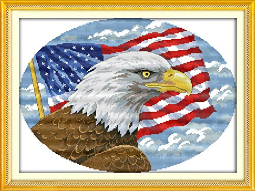 2 Bald Eagle 44/×33CM Joy Sunday Cross Stitch Kit 14CT Stamped Embroidery Kits Precise Printed Needlework