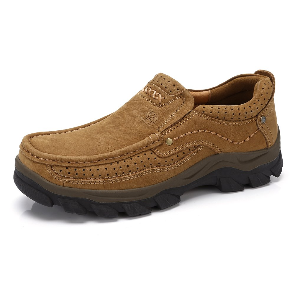 CAMEL CROWN Mens Walking Shoes Leather Casual Slip On Loafers Comfortable Shoes for Work Business