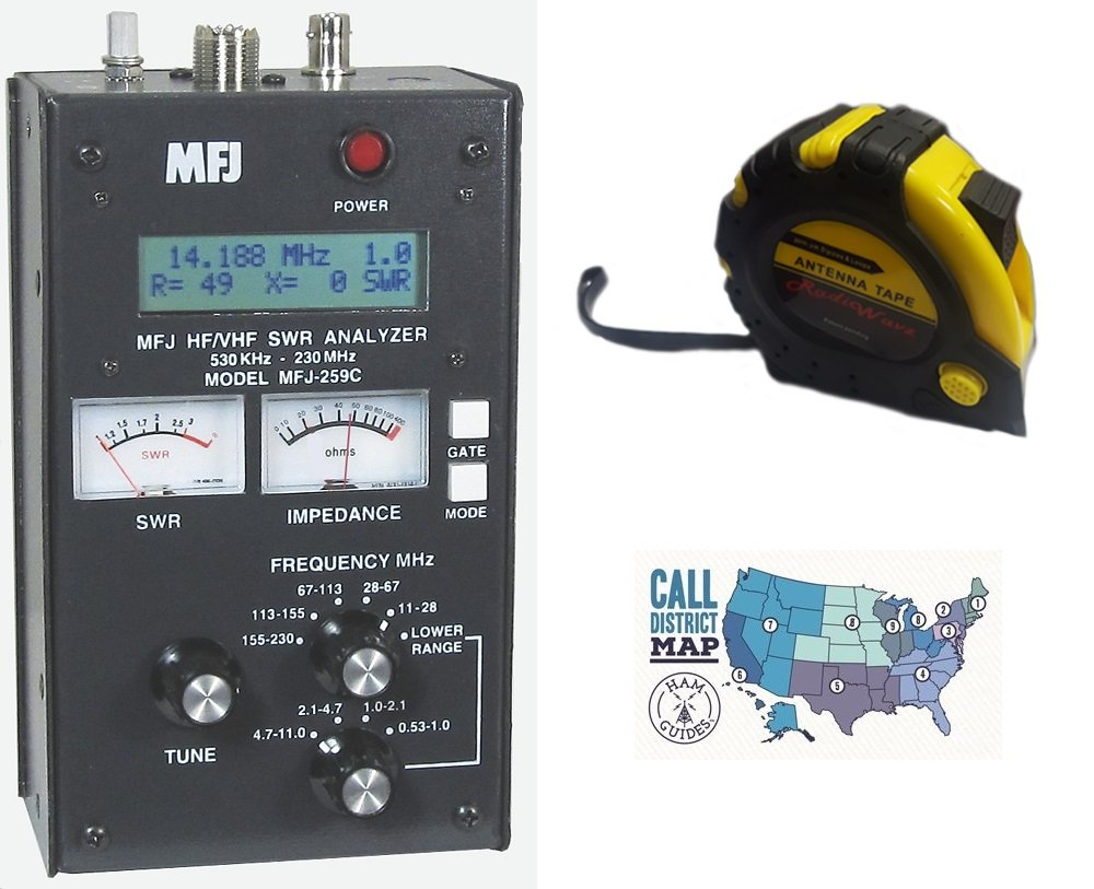 Bundle - 3 Items - Includes MFJ 259C HF/VHF Antenna/SWR/RF Analyzer with Meters with the New Radiowavz Antenna Tape (2m - 30m) and HAM Guides Quick Reference Card by MFJ (Image #1)