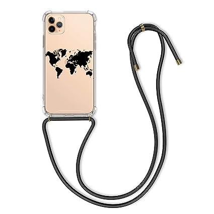 kwmobile Apple iPhone 11 Pro Max Hülle mit Kordel zum Umhängen Silikon Handy Schutzhülle für Apple iPhone 11 Pro Max Travel Umriss Design