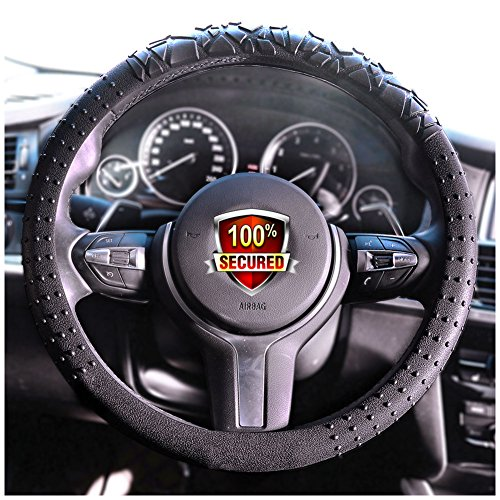 Car Truck Steering Wheel Cover (JYPC Silicone Anti-slip Car Steering Wheel Cover Novel Geometrical Pattern Universal 15 inch (Black))