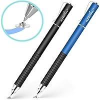 aibow タッチペン スタイラスペン 高感度タイプ [ iPad iPhone/Android スマホ タブレット ]対応 (パズドラ お絵描き メモ で使える) グリップ付 キャップ式 2本+交換用ペン先2個 (ブラック/ブルー)