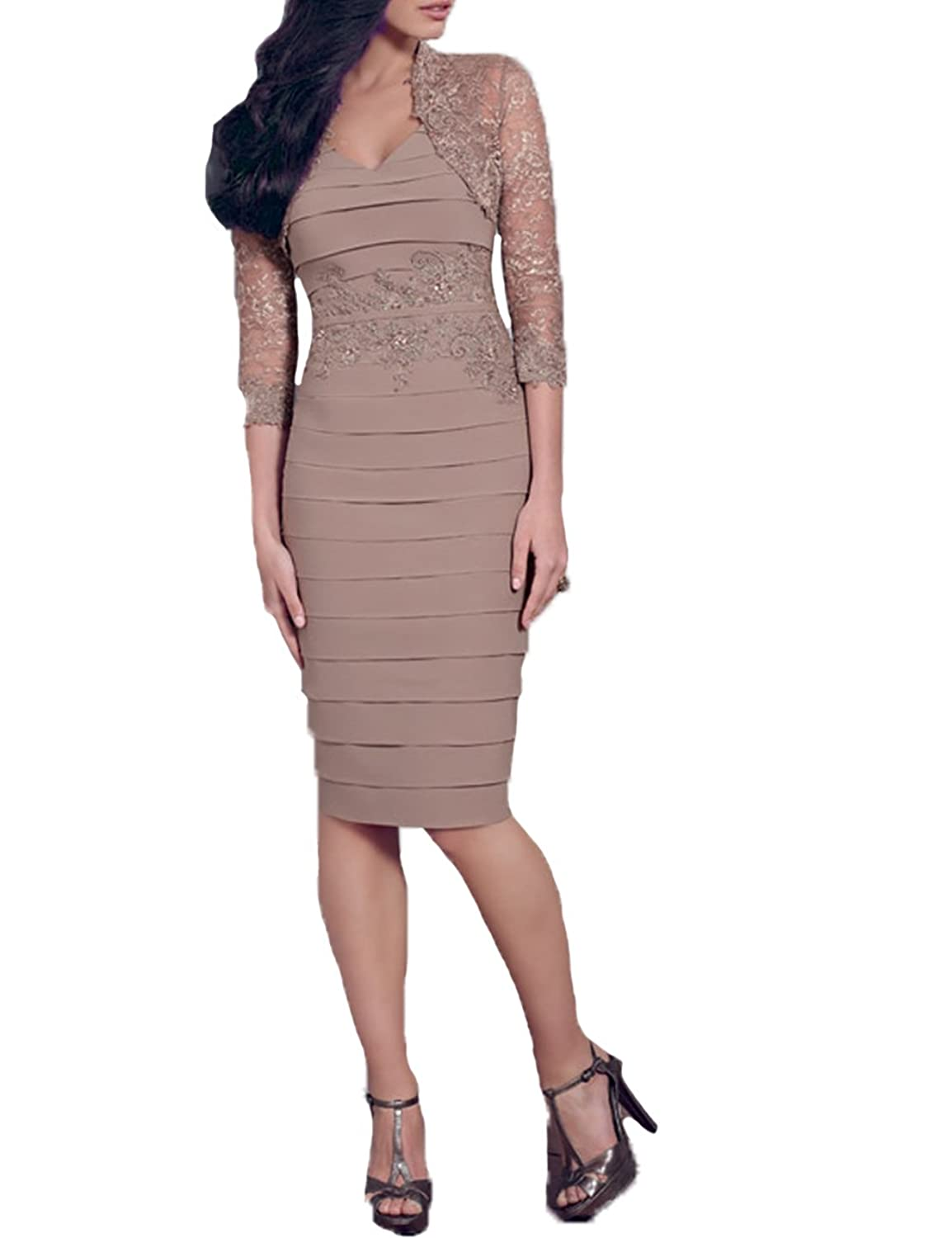 PrettyWedding V-neck Lace Ruching 3/4 Sleeves Over-knees Brown Evening Dress