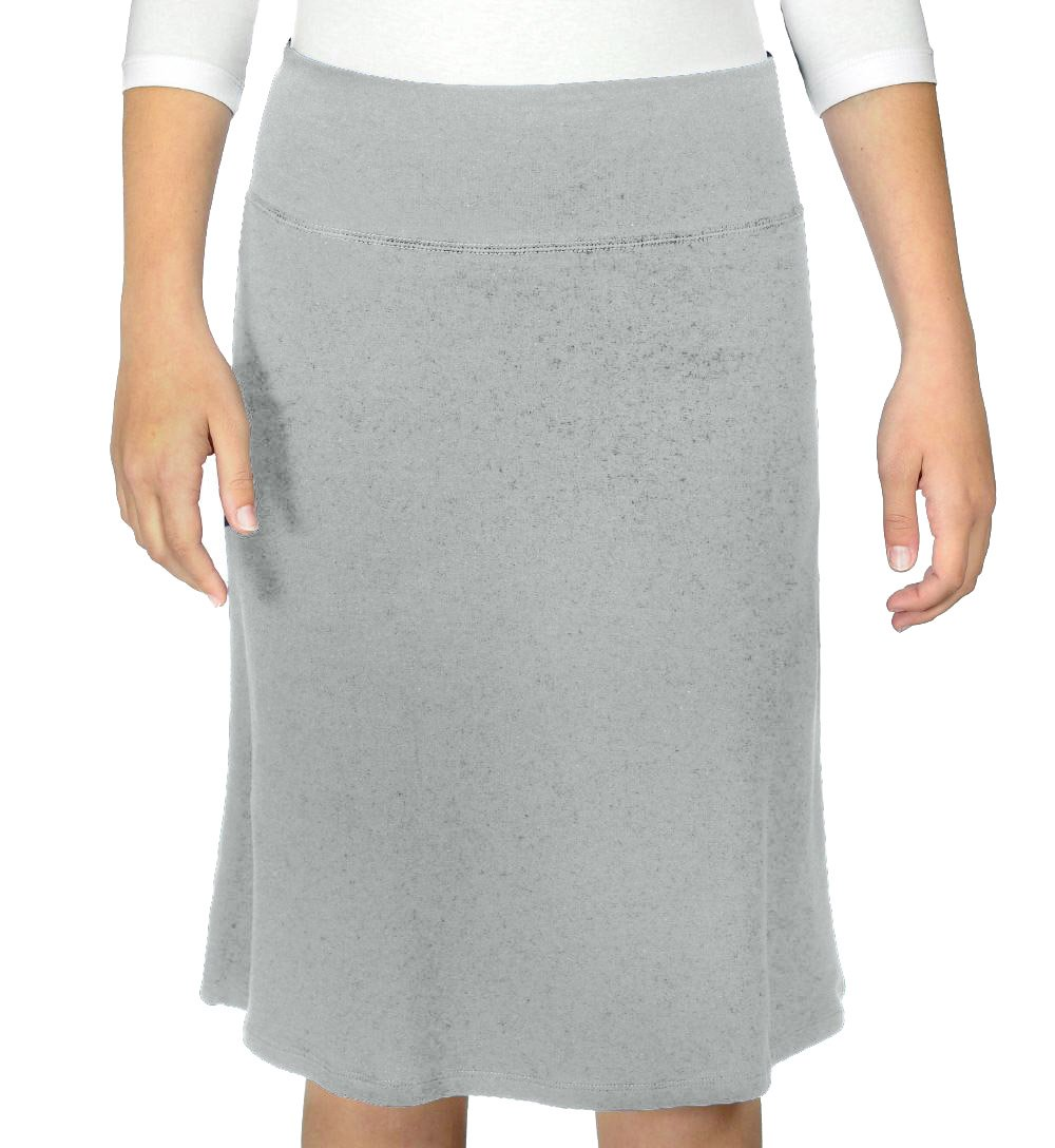 Kosher Casual Women's Modest A-Line French Terry Cotton Spandex Knee Length Sports Skirt XL Heather Grey