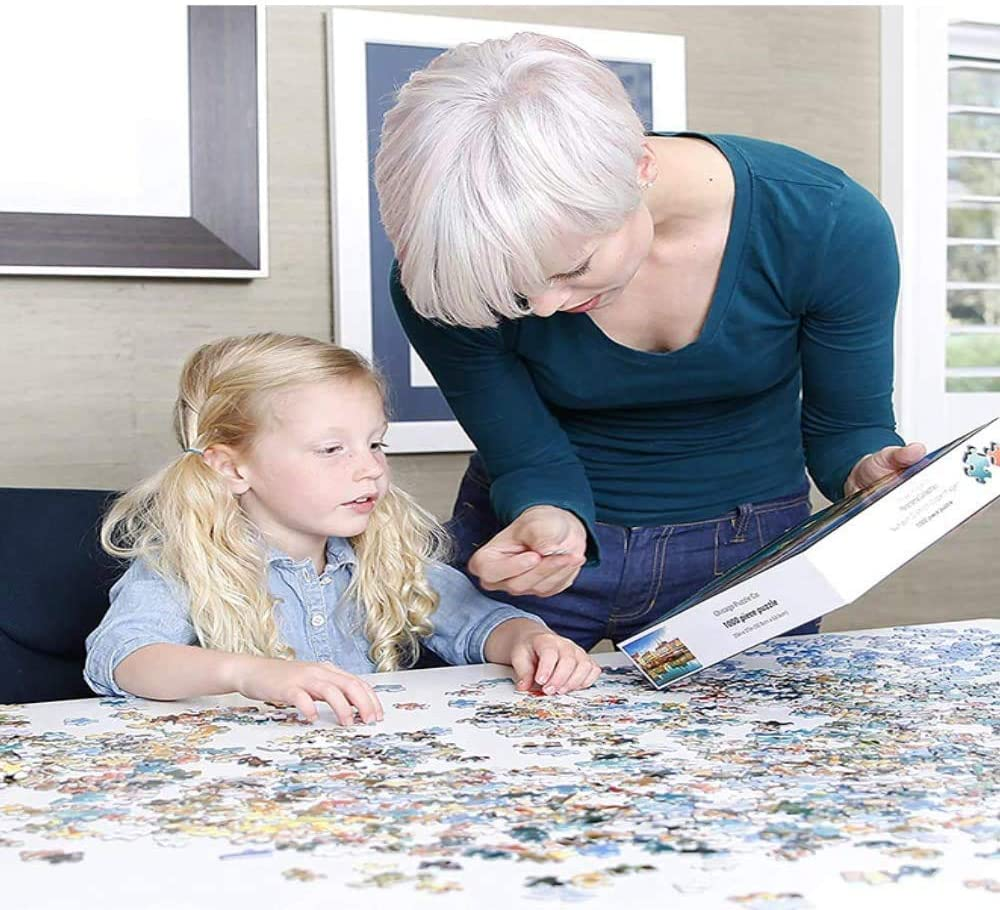 Challenge and Fun Puzzles Toys,Activities to Help Children Think About Parent-Child Interaction Mandala Pattern Blue Board Round Puzzle 500 Piece 18.9 in x 18.9 in