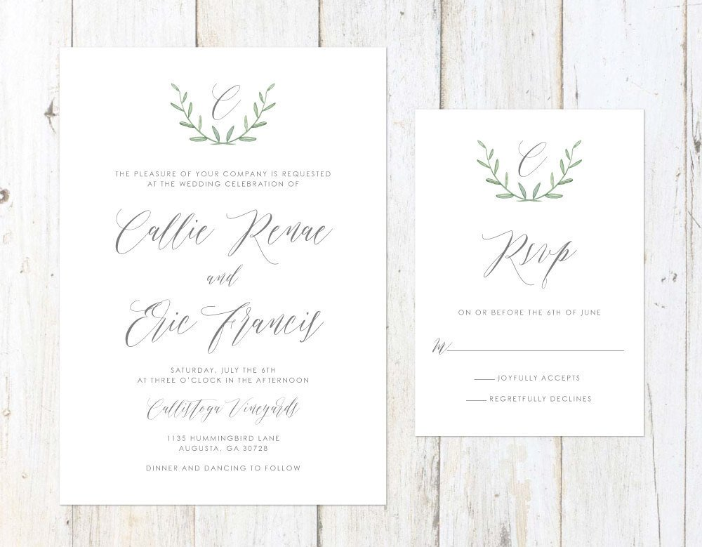 Rosemary Wreath Wedding Invitation, Greenery Wedding Invitation, Simple Greenery Wedding Invitation