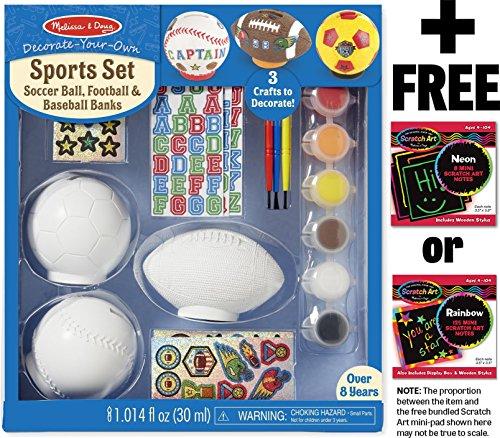 Melissa & Doug Sports Set Decorate-Your-Own Kit + FREE Scratch Art Mini-Pad Bundle [95365] (Mini Basketball Bank)