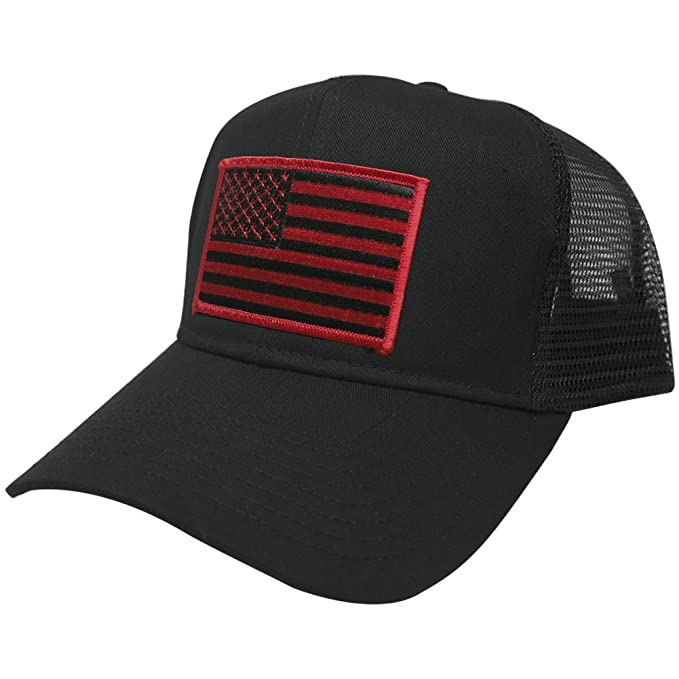 AC Racing USA American Flag Patch Snapback Trucker Mesh Cap - Black ... 6a877b16202