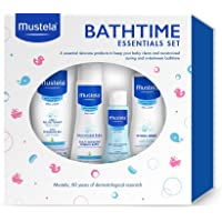 Mustela - Set de regalo de baño esencial, suave, seguro e hipoalergénico para el baño del bebé y cuidado de la piel, 4 artículos