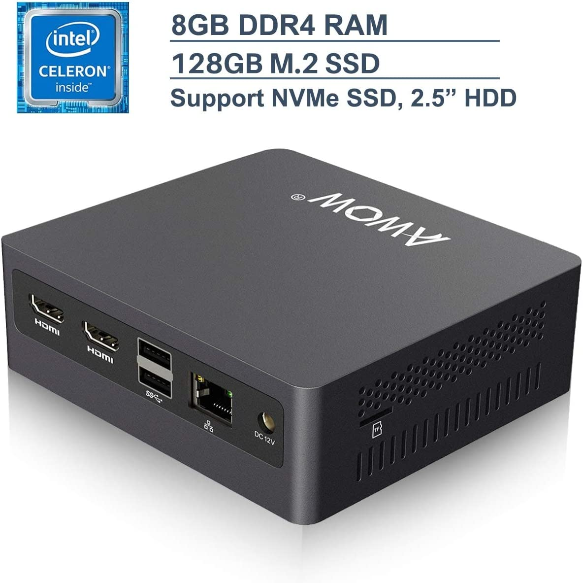 Mini PC Windows 10 AWOW Mini Desktop Computer Intel Celeron N3450, 8GB DDR4 128GB SSD 4K HD, HDMI x2, Dual Band WiFi, USB x4 Gigabit Ethernet, BT 4.2 AL34 Micro PC