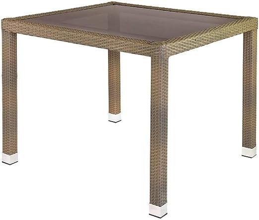 Mesa de jardín de Comedor de plástico marrón de 90x90x76 cm - LOLAhome: Amazon.es: Jardín