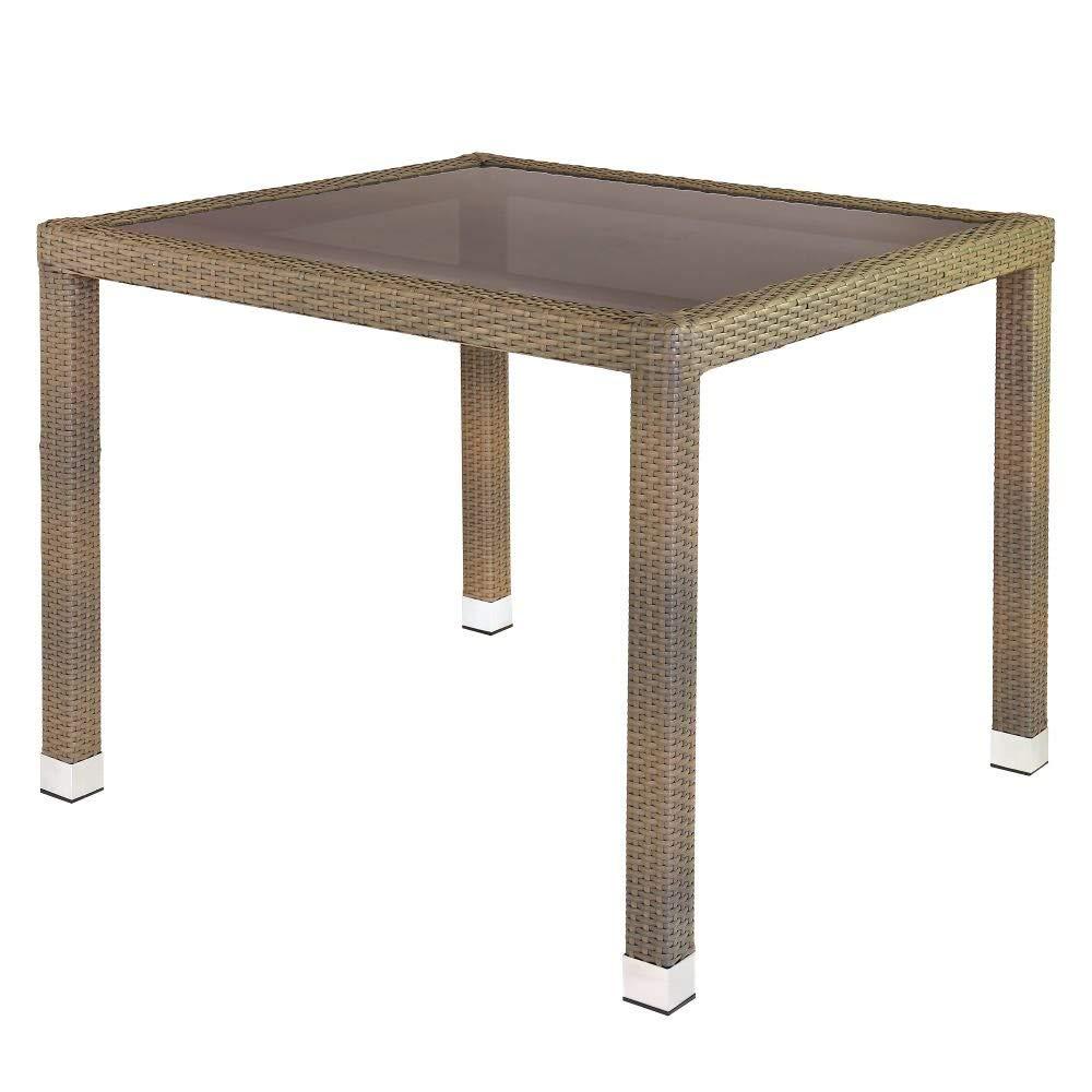 Mesa de Comedor para jardín de plástico marrón Garden - LOLAhome ...