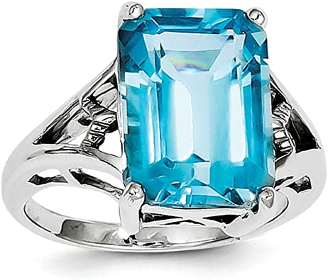 925 Sterling Silver US Size 3-13 Prong Setting Promise Ring 6 X 8 MM Birthstone Ring Ring Jewelry Natural Blue Topaz
