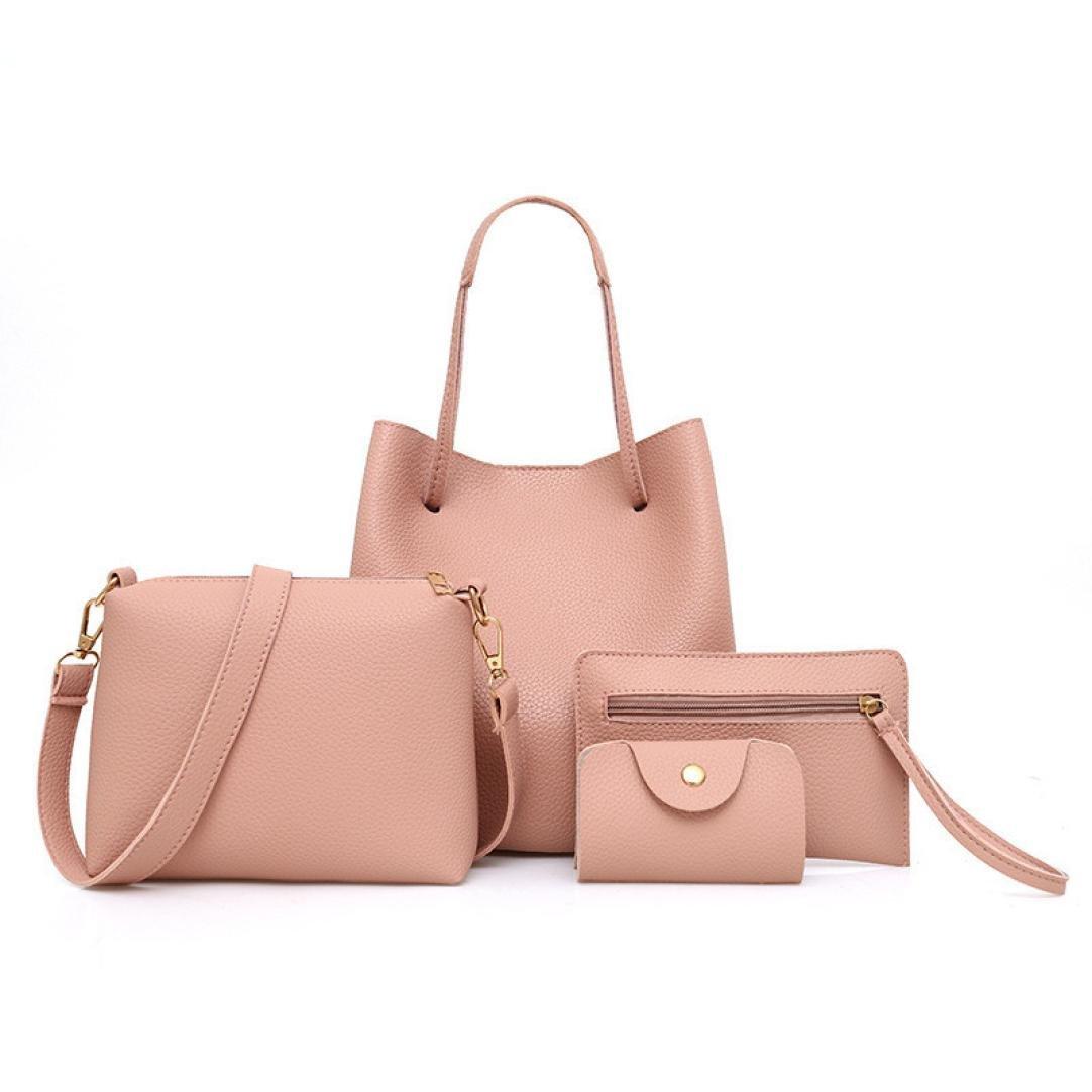 BCDshop Women Faux Leather Handbag+Crossbody Bag+Messenger Bag+Card Purse Wallet -4Pcs (Pink) by BCDshop Shoulder Bag
