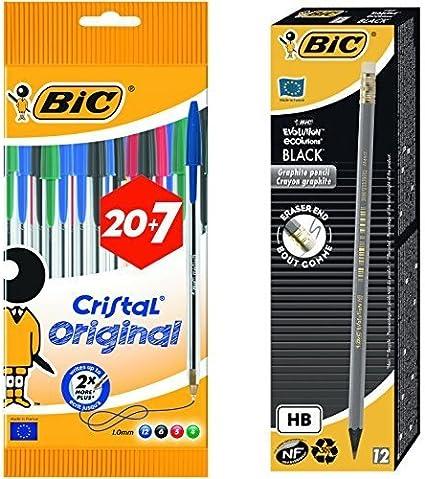 Bic - Pack 27 bolígrafos de punta redonda de colores surtidos + 12 unidades lápiz de grafito Bic Evolution: Amazon.es: Oficina y papelería
