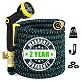 50ft Expandable Garden Hose, Water Hose with 3/4 inch Solid Brass Fittings 9 Function Spray Pattern Nozzle, 50' Expanding Hoses Extra Strength Fabric Outdoor Flexible Hose Lightweight Yard Hose