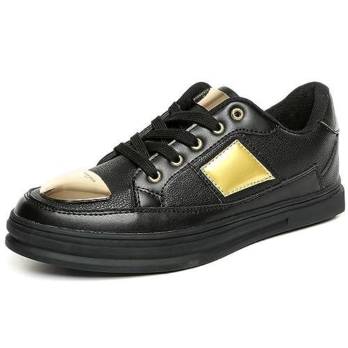 Otoño/Verano 2018 Zapatos de los Hombres Zapatillas de Moda Zapato Plano Tacón Plano Cierre con Cordones Tiras de Metal Decoraciones: Amazon.es: Zapatos y ...